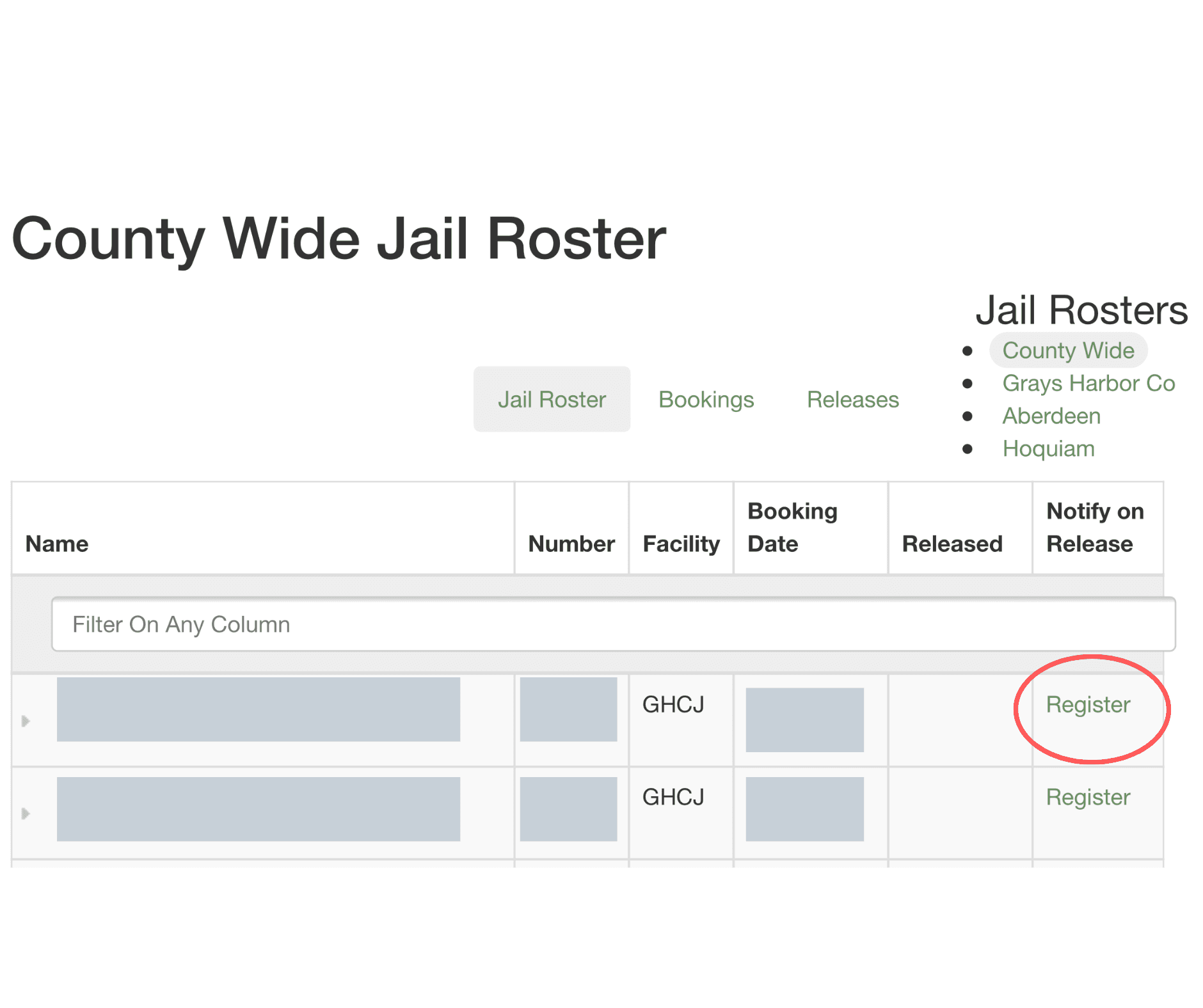Jail Roster Directions